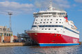 Red And White Viking Line Ferry Is Moored In Port Stock Photos - 45378703