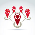 Vector Connected Map Pointers With Loving Heart Icon. Stock Photo - 45379980