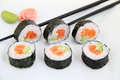 Futomaki, Salmon And Avocado. Traditional Japanese Sushi Rolls Royalty Free Stock Photos - 45386398