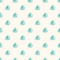 Seamless Nautical Pattern With Small Blue Boats. Royalty Free Stock Images - 45388749