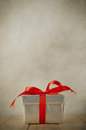 Silver Gift Box On Wood Table Royalty Free Stock Photography - 45389067