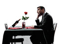 Lovers Waiting For Dinner Silhouettes Stock Photo - 45393070