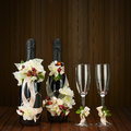 Champagne Bottles With Glass And Wedding Decoration Of Flower Ar Royalty Free Stock Images - 45401769