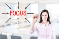 Young Business Woman Target On Focus. Office Background. Stock Photo - 45403890
