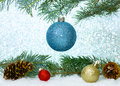 Blue Glitter Ornament On Tree Stock Images - 45405964
