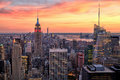New York City Midtown With Empire State Building At Amazing Sunset Royalty Free Stock Image - 45417026