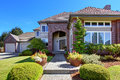 Luxury House With Brick Wall Trim And Beautiful Curb Appeal Stock Image - 45440891