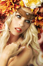 Closeup Portrait Of The Lady With Excelent Wreath Royalty Free Stock Photo - 45443805