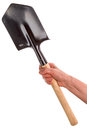 Hand With Entrenching Shovel Royalty Free Stock Image - 45464456