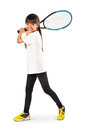 Little Asian Girl Holding Tennis Racket Royalty Free Stock Photography - 45474477
