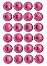24 Multimedia Icons Or Bright Pink And Silver Buttons Stock Photos - 45478813
