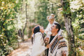 Happy Family In An Autumn Forest Royalty Free Stock Photography - 45485227