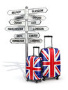 Travel Concept. Suitcases And Signpost What To Visit In UK. Stock Photography - 45488342
