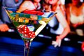 Red Dice In The Cocktail Glass In Front Of Gambling Table Stock Images - 45494524