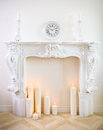 Decorative Fireplace With Candles Stock Image - 45495341