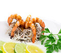 Shrimps With Spaghetti Royalty Free Stock Photo - 45511355