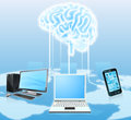 Devices Connected To Central Brain Stock Photography - 45513672