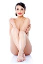 Naked Young Pretty Woman Sitting On Floor Royalty Free Stock Image - 45514916