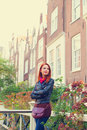 Girl Near Houses In Amsterdam. Royalty Free Stock Image - 45530686