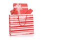 Red Gift Boxes In Red Shopping Bag Stock Photos - 45541223