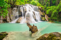 Third Floor Of Huay Mae Kamin Waterfall, The Cliff Stock Photography - 45552142