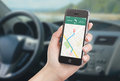 Smart Phone With Map Gps Navigation Application On The Screen Stock Image - 45560081