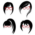 Vector Set Of Trendy Hair Styling For Woman Stock Images - 45571114