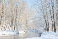 Winter Landscape: Small River In A Snowy Woods. Royalty Free Stock Photography - 45578287