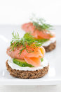 Canape With Cheese, Cucumber And Salmon, Close-up Royalty Free Stock Images - 45589479