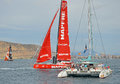 Volvo Ocean Race 2014 - 2015 A Near Miss Royalty Free Stock Photography - 45592767