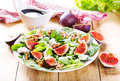 Plate Of Salad With Fresh Figs Royalty Free Stock Photography - 45592947