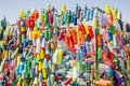 Colorful Recycling Bin With Painted Bottles Stock Photo - 45607680