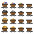 Mine Cart Set Gold Sone Coins Diamonds Stock Images - 45611484