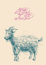 Happy New Year Design Card With Goat Or Sheep, Stock Images - 45612864
