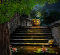 Halloween Pumpkins In Yard Of Of Old Stone Staircase Night Royalty Free Stock Photo - 45617975