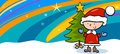 Kid On Christmas Cartoon Greeting Card Royalty Free Stock Photo - 45621625