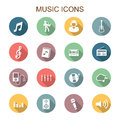 Music Long Shadow Icons Stock Photo - 45625700