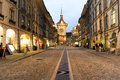 Alley To The Clocktower On The Old Part Of Bern Royalty Free Stock Images - 45632119