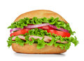Sausage, Lettuce, Tomato On The Sandwich With Sesame Seeds Isola Royalty Free Stock Photos - 45678938