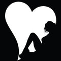Sexy Girl Silhouette And Heart On Black Stock Images - 45680714
