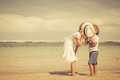Happy Kids Playing On Beach Royalty Free Stock Images - 45690519
