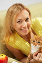 The Girl With A Kitten Stock Photo - 4579530