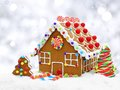 Gingerbread House With Silver Background Royalty Free Stock Photos - 45702138