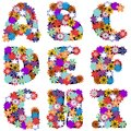 Alphabet With Flowers On White Background Royalty Free Stock Photos - 45703498