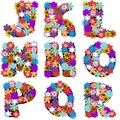 Alphabet With Flowers On White Background Royalty Free Stock Image - 45703506