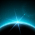 Eclipse Illustration, Planet In Space In Blue Rays Of Light Royalty Free Stock Images - 45703999