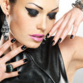 Beautiful Fashion Sexy Woman With Black Nails At Pretty Face Royalty Free Stock Photos - 45715198
