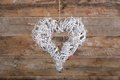 Heart Shape Christmas Wreath White Twigs On Old Rustic Backgroun Stock Images - 45720464