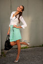 Young Girl Fashoionable Dressed Posing In Park Stock Images - 45722564