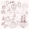 Little Girl Accessories Set Doodle Sketch Stock Photo - 45730160